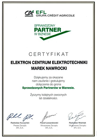 Certyfikat sprawdzonego partnera w biznesie dla Elektron Centrum Elektrotechniki