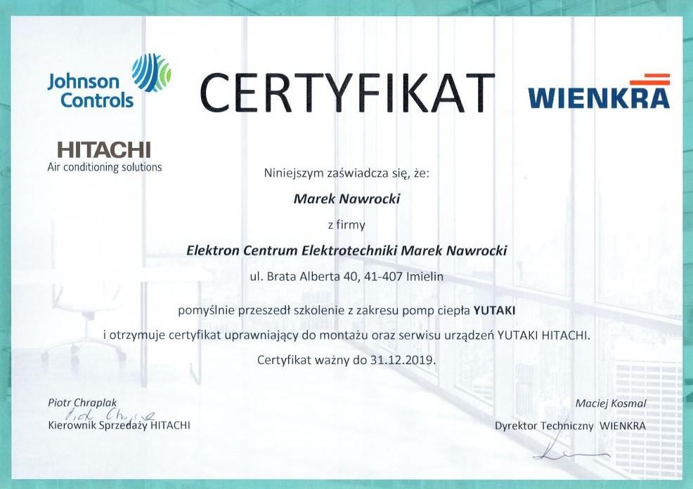 Certyfikat dla ECE Elektron Centrum Elektrotechniki pompy ciepła Yutaki Hitachi