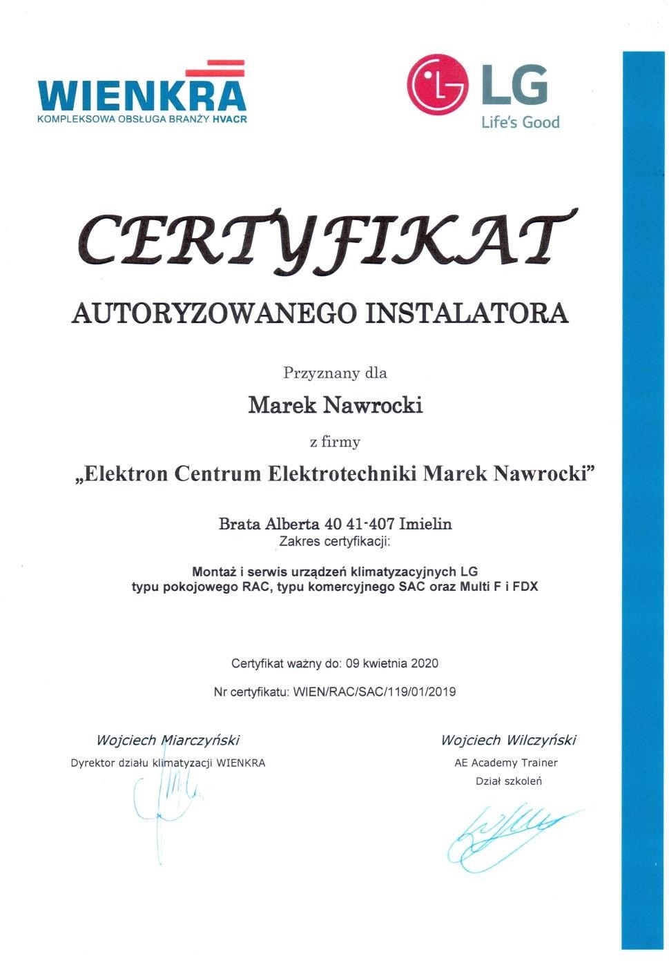 Certyfikat dla ECE Elektron Centrum Elektrotechniki urządzenia klimatyzacyjne LG