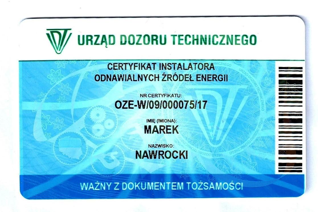 ECE Elektron Centrum Elektrotechniki ma certyfikat UDT instalatora odnawialnych źródeł energii