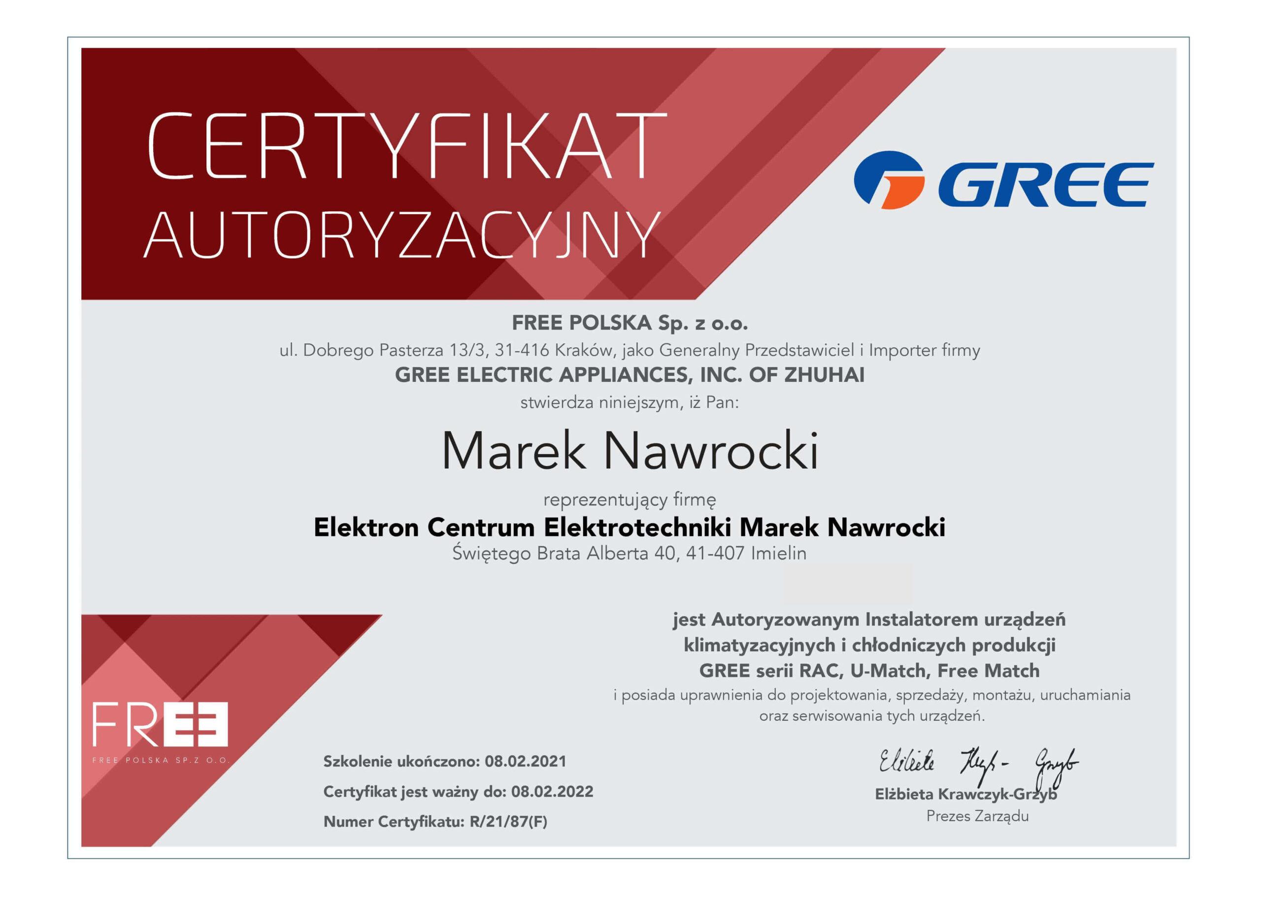 Certyfikat dla ECE Elektron Centrum Elektrotechniki autoryzowanego instalatora urządzeń klimatyzacyjnych i chłodzniczych GREE
